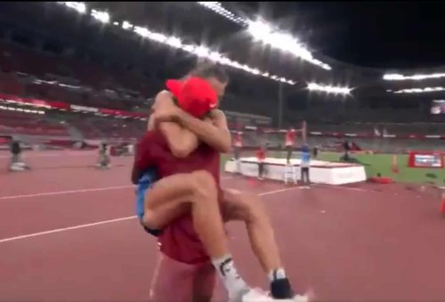 High jumpers sharing gold medal dubbed 'the greatest moment in Olympic history'