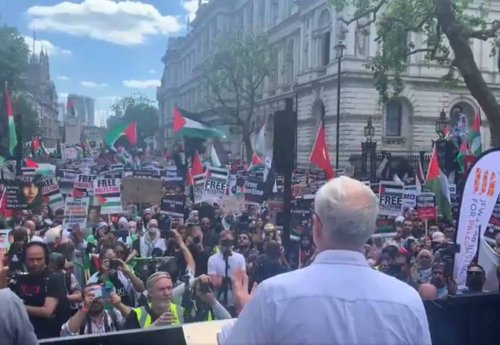 Jeremy Corbyn calls for a halt to arms sales as he addresses pro-Palestine rally