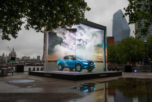 Moment new car appears to leap out of screen on London's Southbank