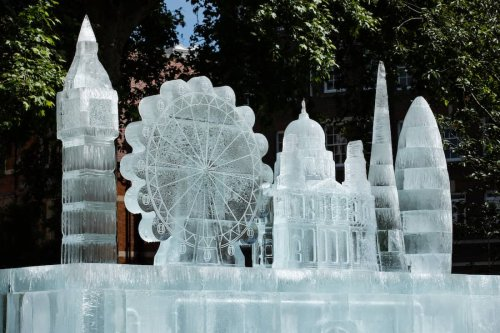 Giant ice sculpture larger than a double-decker bus unveiled in London
