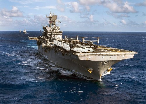 U.S. Carrier Strike Group & Amphibious Assault Ships War Game in South China Sea