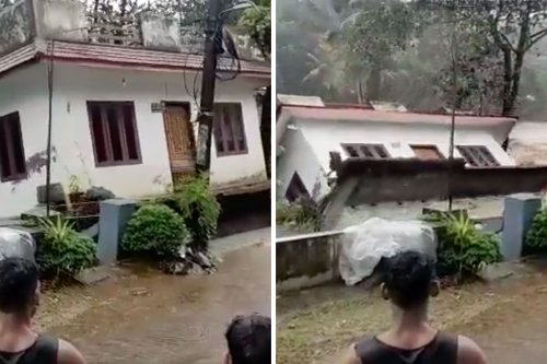 Video captures two-storey house in Kerala completely collapsing into gushing river