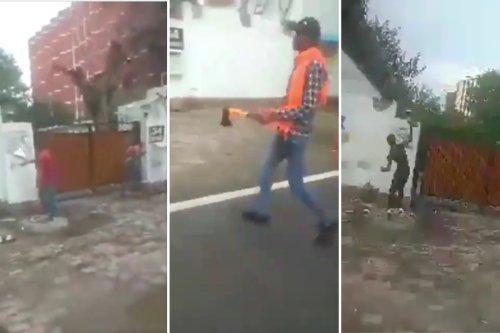 Video shows Hindu Sena members breaking nameplate at Owaisi's home, hurling stones