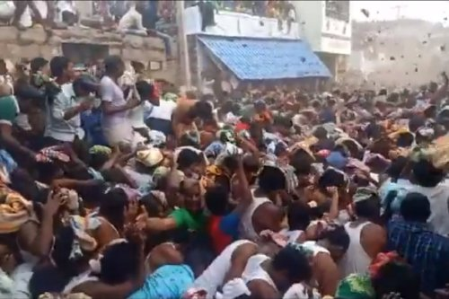 Watch: COVID-19 protocols violated at this cow dung hurling ritual in Andhra