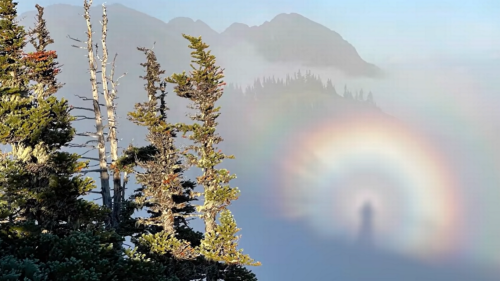 Hiker's apparition captured in rainbow halo in Washington — and looks almost biblical