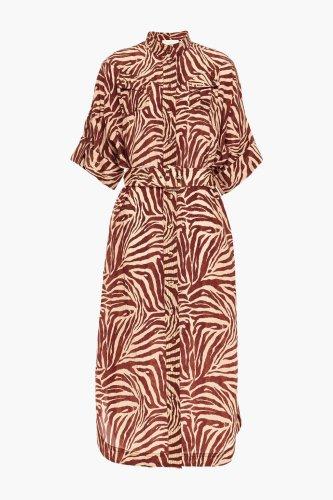 Ziegelrot Hemdkleid in Midilänge aus Crêpe de Chine aus Seide mit Gürtel und Stickereien | Sale bis zu -70% | ZIMMERMANN | THE OUTNET | ZIMMERMANN | THE OUTNET