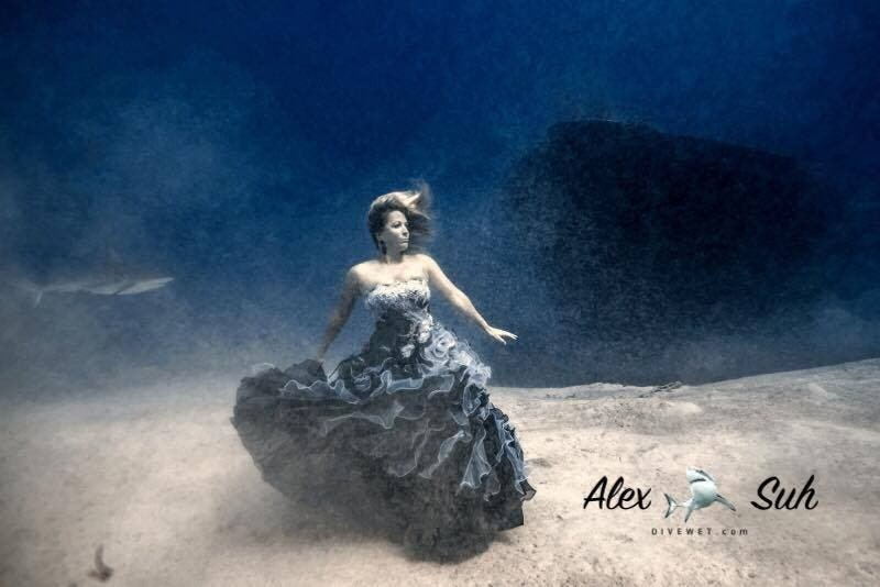 Ken Kiefer Photographs Models Underwater With 40-50 Sharks