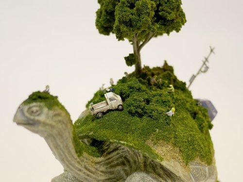 Maico Akiba Creates a Unique Sekai (World) Photo Series on the Backs of Animals