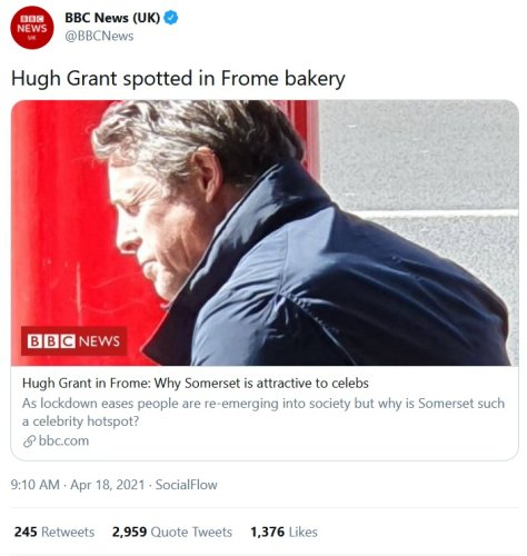 The internet panned the BBC for reporting on Hugh Grant's bakery visit – 12+ favourite takedowns