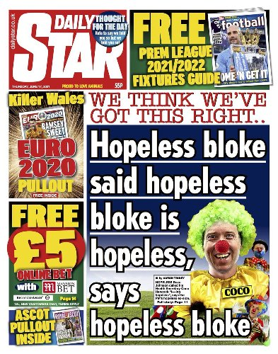 Whoever wrote today's Daily Star front page, take the rest of the week off