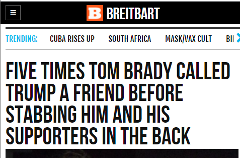 Rightwing fury at Tom Brady's Donald Trump joke is a supremely satisfying read