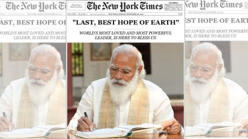 New York Times didn't feature Modi on front page or call him 'last hope'. Image is fake