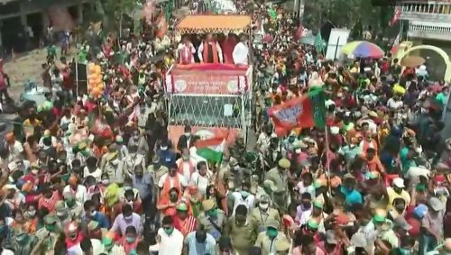 Amit Shah holds roadshow in West Bengal's North 24 Parganas district