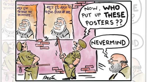 Posters that had the PM in a spot & a vaccine reminiscent of the Nehruvian era