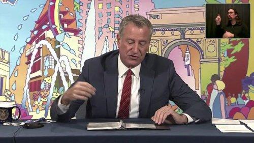 "NYC Mayor Bill de Blasio (D) makes ""major announcement"" of $111 million for repairing the city's public housing."