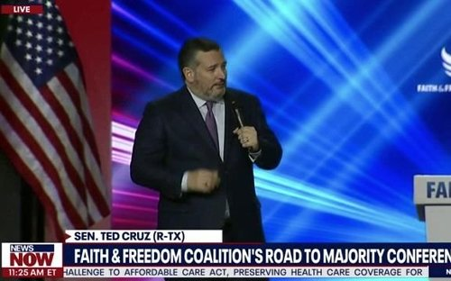 """Sen. Cruz (R-TX) says he """"had a call to arms"""" in remarks for Faith & Freedom Coalition but was told to remove it."""