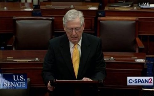 "Sen. Minority Leader McConnell: Biden Afghanistan troop withdrawal plan is ""gift-wrapping"" the country for adversaries."
