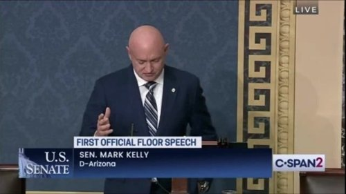 """Sen. Kelly (D-AZ) in his maiden speech on the Senate floor: """"The Senate, though, is not NASA, doesn't move as fast."""""""