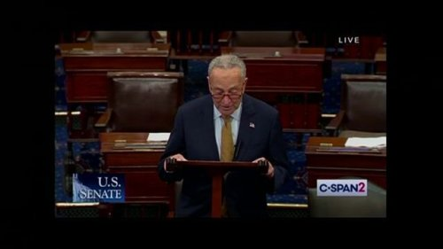 Sen. Schumer gets a call on his flip phone during floor speech criticizing Republicans over looming government shutdown.