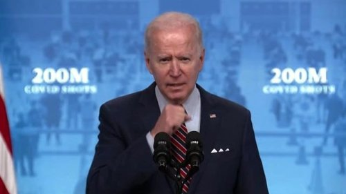 """Pres. Biden says when tomorrow's vaccine numbers come out """"it will show that today we did it, today we hit 200M shots."""""""