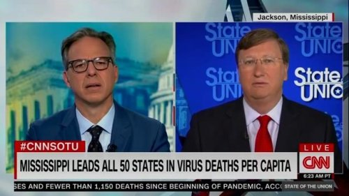 CNN's Jake Tapper points out to Gov. Reeves that Mississippi leads the nation in COVID deaths per capita.