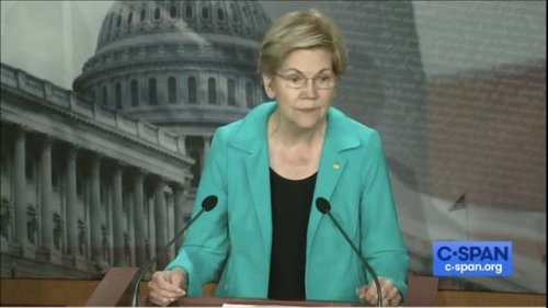 "Sen. Warren (D-MA) at student loan reform presser with Leader Schumer: ""Tick tock, tick tock, Mr. President."""