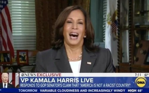 """VP Harris on Sen. Scott (R-SC) saying """"America is not a racist country"""": We must also """"speak truth about the history."""""""