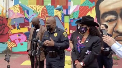 """HPD Chief Finner speaks in front of a Floyd mural that was defaced: """"Ignorant people ... do not give them the power."""""""