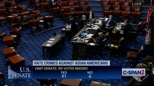 Senate votes to advance legislation to combat hate crimes against Asian Americans (92-6).