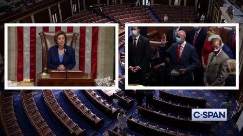 House Speaker Nancy Pelosi swears in Rep. Jake Ellzey (R-TX), who defeated widow of GOP Rep. Wright in runoff Tuesday.