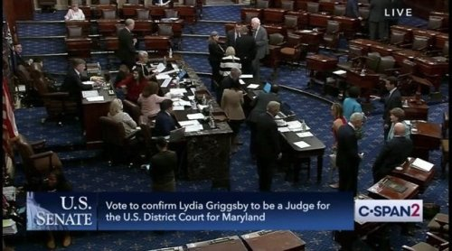 Senate confirms Judge Lydia Griggsby 59-39, the first woman of color to serve on the U.S. District Court for Maryland.