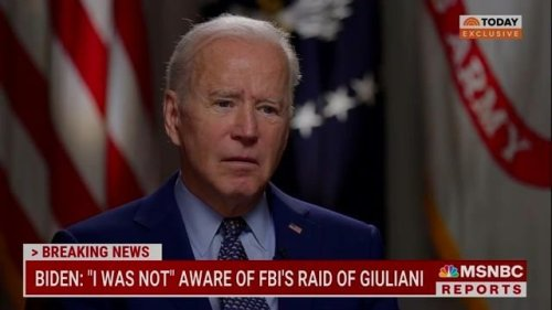 "In Today exclusive, President Biden says he had ""no idea"" about the FBI raid of Rudy Giuliani's home before it happened."