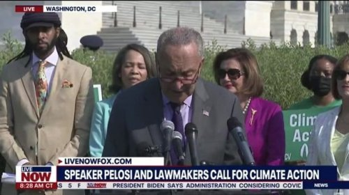 """Sen. Majority Leader Schumer says """"I will not pass an infrastructure package"""" that does not meet carbon pollution needs."""