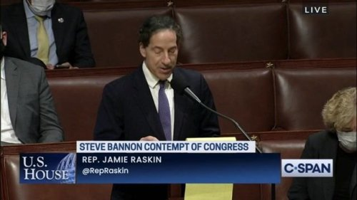 """Rep. Raskin (D-MD) after 221-205 vote holding Bannon in contempt: """"We will get to the truth of the violent assault."""""""