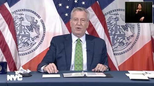 NYC Mayor de Blasio announces the return of Curbside Compost Program and introduces a compost bin as his special guest.