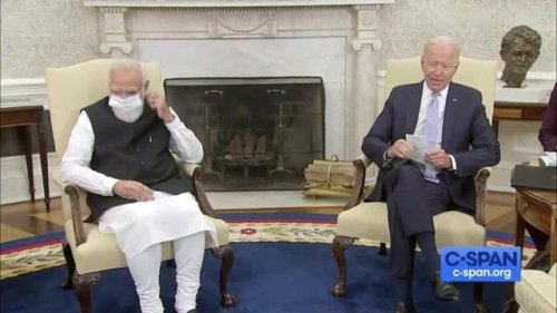 Pres. Biden jokes with Indian PM Modi that the seat he was using is filled every day by an Indian American (VP Harris).