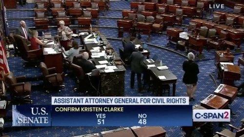 Senate confirms Kristen Clarke as the first Black woman to lead the DOJ civil rights division (51-48).