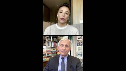 """While on an IG live with Eva Longoria, Dr. Fauci says the idea that vaccines are linked to infertility is """"nonsense."""""""