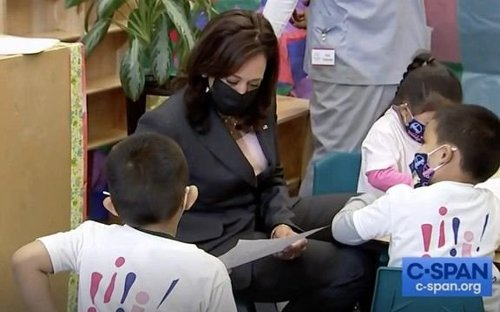 """VP Harris lets a student wear her American flag pin. Another student says: """"If he wears it, he's the vice president."""""""