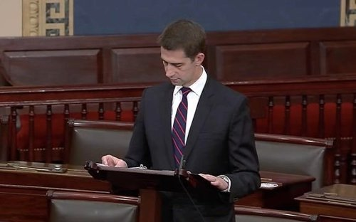 """Sen. Tom Cotton (R-AR) on Senate floor: """"Democrats like to pretend that voter ID laws are RACIST."""""""