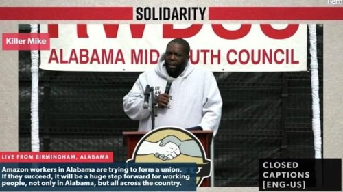 """Killer Mike calls out Amazon's CEO at worker unionization event in Alabama: """"Jeff Bezos is beyond 'white folks rich.'"""""""