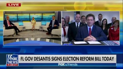 Gov. DeSantis (R-FL) just signed the state's new restrictive voting bill live on Fox News (after barring local press).