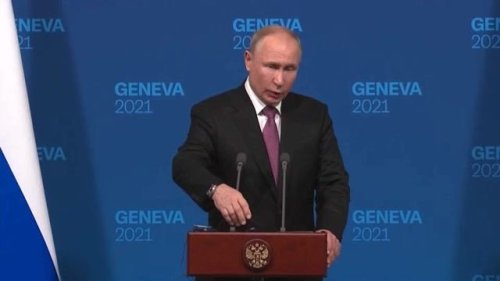 """President Putin says there was """"no hostility"""" in his meeting with President Biden."""