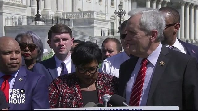 Texas State Democrats sing 'We Shall Overcome' in a press conference urging Congress to pass voting rights legislation.