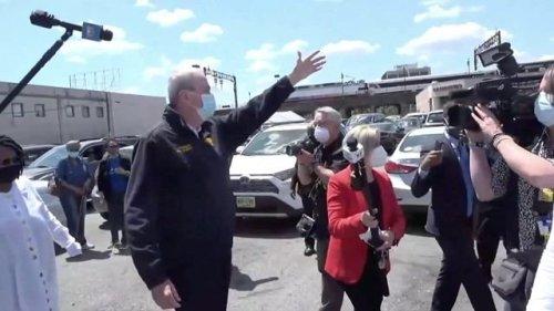 Gov. Murphy (D-NJ) and Whoopi Goldberg visit a community vaccination site in East Orange, NJ.