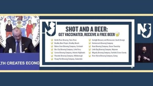 """Gov. Murphy (D-NJ) announces the """"Shot and a Beer"""" program to encourage eligible residents ages 21+ to get vaccinated."""