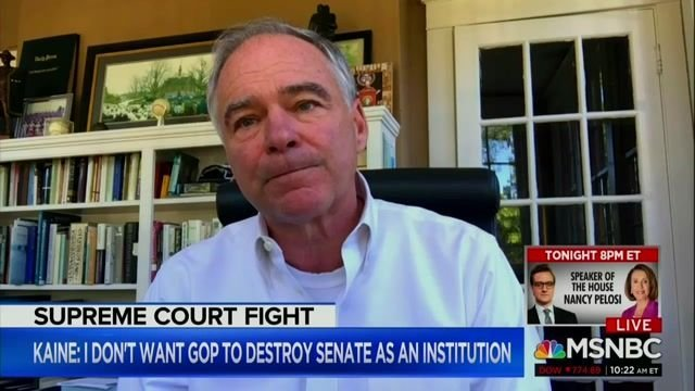 Sen. Kaine (D-VA) says he won't support any Trump-appointed SCOTUS nominee until after Inauguration Day.
