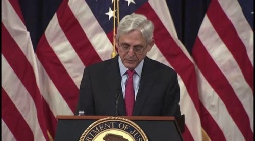 """AG Merrick Garland says domestic terrorists fighting for the """"superiority of the white race"""" are the greatest threat."""