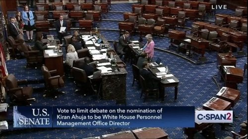 VP Harris casts the tie-breaking vote to confirm Kiran Ahuja to be director of the Office of Personnel Management.