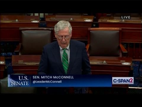 """Senate Minority Leader Mitch McConnell says Biden administration is sending """"mixed messages"""" about COVID restrictions."""